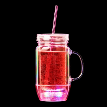 Ultra Pink LED Drinking Glasses with Straw Plastic Glasses Mason Jars with Lids and Straws Smoothie Cup Tumbler with Straw and Lid Slushie Cup Mason Jars with Handles Light Up Glasses Drinking…