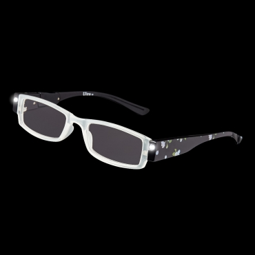 Ultra Floral Black Adults LED Night Illuminated Reading Glasses Mens Womans Presybyopic Diopter with Lights Power Strength Magnifying Lenses