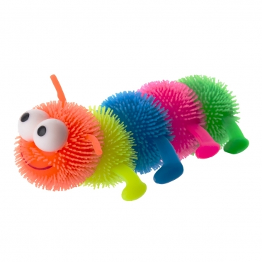 Flashing LED Puffer Caterpillar Light Up Stretchy Toys Multicoloured Stretchy Puffer Ball Stress Ball Perfect for Gifts Birthday Secret Santa Gift
