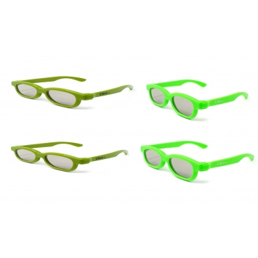 2 Light Green 2 Dark Green 3D Glasses for Children Polorized for RealD Cinema and Home TV Use Passive Circular Polorised 3D Glasses for Kids