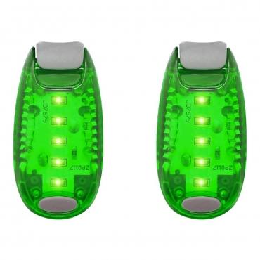 LED Safety Lights Clip On Flashing Strobe Light High Visibility for Running Jogging Walking Cycling for Kids Dog Bicycle Bike Lights Helmet Light Tail Light Hi Vis Armbands Running-2 Pack of Green Lights