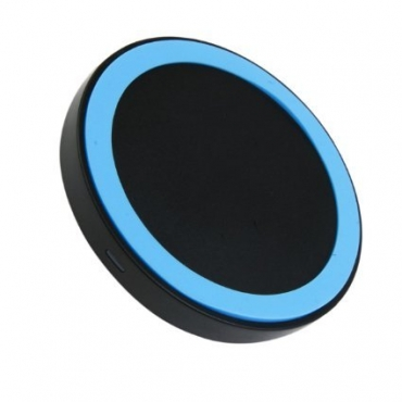 Ultra Blue Wireless QI Charger Pad NFC Mini Portable Fast Charging Circle For Mobile Phones Tablets USB Port Compatible with Android iOs