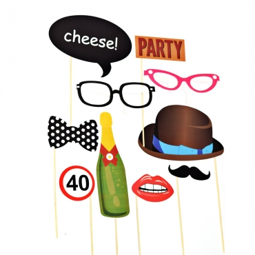 10 Piece Party Photobooth Glossy Card Party Props Set including Champagne Bottle Bow Tie Bowler Hat Glasses Party and Cheese Sign and Holding Sticks