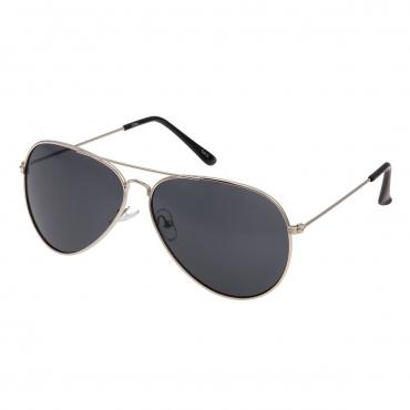 Ultra Adult Pilot Style Sunglasses Silver Frame with Black Lenses Mens Womens Classic Vintage Retro Glasses UV400 Metal Driving Navigators