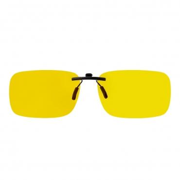 Ultra Rectangular Clip On Glasses Night Driving Glasses Men's and Women's Polarised Sunglasses Anti Glare Amber Lens UV400 Polarized Sunglasses Yellow Tinted Glasses Anti Glare Cycling Golf Sailing