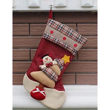 Ultra 1 Snowman Large Deluxe Plaid Christmas Stockings 3D Plush Xmas Sock Sack Gift Bag for Tree Christmas Stocking Pouch Bag Candy Bag Christmas