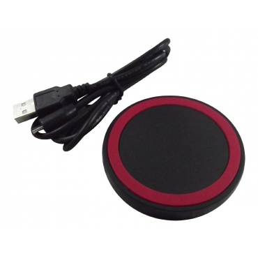 Ultra Red Wireless QI Charger Pad NFC Mini Portable Fast Charging Circle For Mobile Phones Tablets USB Port Compatible with Android iOs