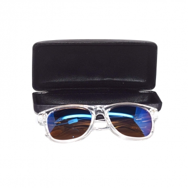 Ultra ® Clear with Blue Lenses A Line Premium Adults Classic Shape Classic Style Sunglasses Unisex Clear framed Sunglasses and Case colouful lenses available with Blue light