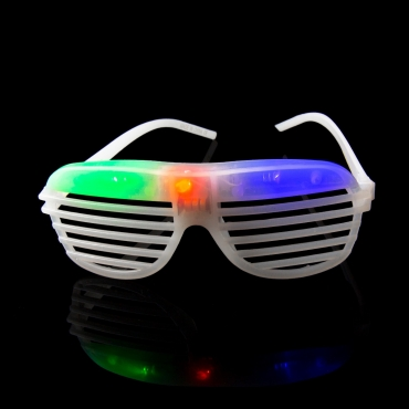 Packs of 1 to 96 White Flashing LED Shutter Style Glasses Glow Slotted Plastic Flashing Light Up Shades Eyewear Sunglasses For Music Concerts Parties