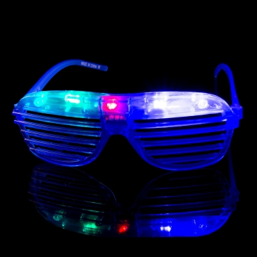 Packs of 1 to 96 Blue Flashing LED Shutter Style Glasses Glow Slotted Plastic Flashing Light Up Shades Eyewear Sunglasses For Music Concerts Parties