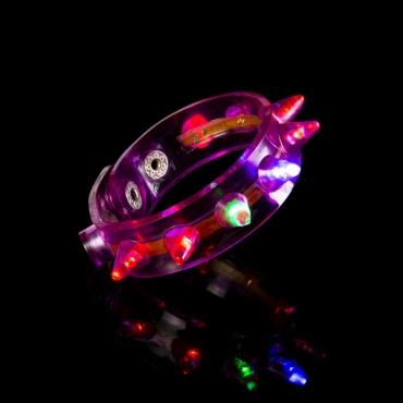 Purple LED Spike Flashing LED Bracelets Spike Light Up Parties Adult Man Woman Children