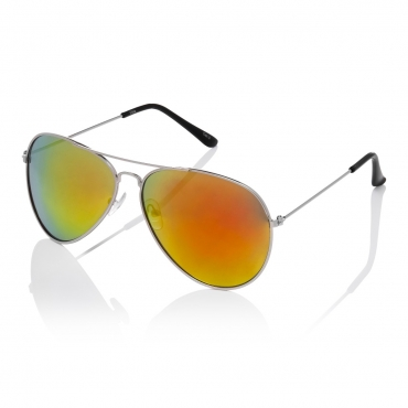 Ultra Adult Pilot Style Sunglasses Silver Frame with Burnt Orange Mirrored Lenses Mens Womens Classic Vintage Retro Glasses UV400 Metal Navigators