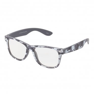 Ultra Grey Camouflage Adults Classic Costume Glasses with Clear Lenses Retro Design Men Women Fancy Dress Geek Look Cosplay Hipsters World Book Day