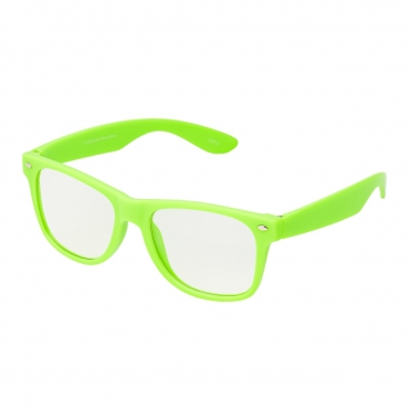 Ultra Lime Green Adults Classic Costume Glasses with Clear Lenses Retro Design For Men Women For Fancy Dress Geek Look Cosplay Hipster World Book Day