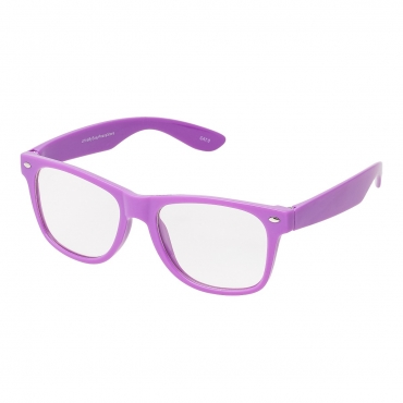Ultra Purple Adults Classic Costume Glasses with Clear Lenses Retro Design For Men Women For Fancy Dress Geek Look Cosplay Hipsters World Book Day