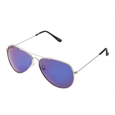 Adult Pilot Style Sunglasses Silver Frame with Blue Mirrored Lenses Mens Womens Classic Vintage Retro Glasses UV400 Metal Driving Navigators