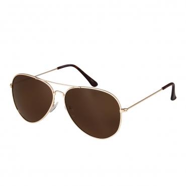Ultra Adult Pilot Style Sunglasses Men Women Classic Vintage Retro Glasses UV400-Gold Frame with Brown Lenses