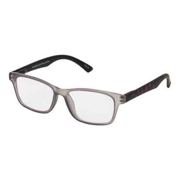 Tortoise Frame with Grey Front Anti Blue Light Blocking Glasses UV400 Filter Anti Eye Strain and Fatigue Aiding Better Sleep Unisex with Clear Transparent Lenses
