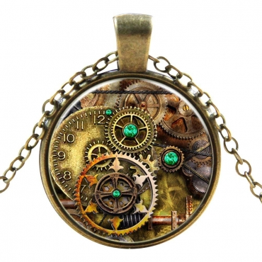 Antique Clock and Key Style Steampunk Necklaces Classic Cyber Punk Victorian Mens Womens Jewellery Chain and Pendant Copper Vintage Cosplay