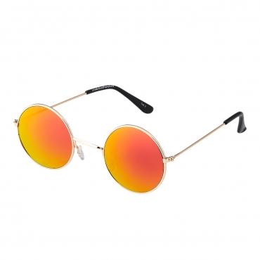 Ultra Gold Frame Burnt Orange Lenses Adults Small Retro Round Classic John Lennon Style Sunglasses Mens Women UV400 Glasses