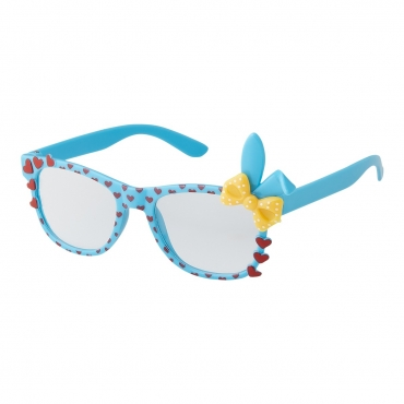 Blue Childrens Bunny Ear Heart Bow Style Clear Lens Costume Glasses Girls Fancy Dress Kids Classic Frame World Book Day Geek Nerd Cosplay
