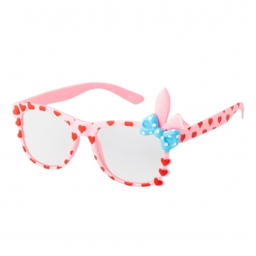 Pink Childrens Bunny Ear Heart Bow Style Clear Lens Costume Glasses Girls Fancy Dress Kids Classic Frame World Book Day Geek Nerd Cosplay
