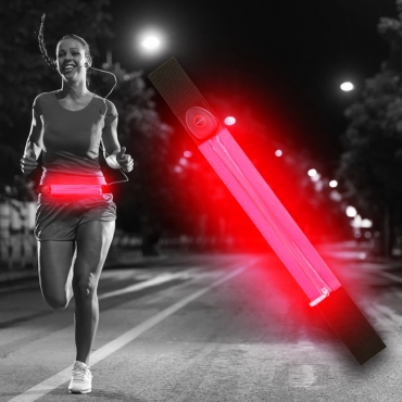 Ultra Red LED Reflective Running Belt For Women and Men USB Rechargeable Phone Holders Waist Bag Waterproof Pouch Fanny Pack High Visilibilty for Cycling