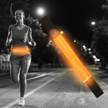 Ultra Orange Coloured LED Reflective Running Belt for Women and Men USB Rechargeable Running Phone Holders Waist Bag Waterproof Pouch Fanny Pack Belt Pouch High Visilibilty for Running and Cycling