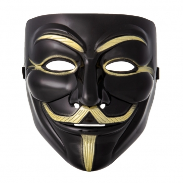 Ultra 1 Black Adults Guy Fawkes Mask Hacker Anonymous Halloween Fancy Dress Adults Costume Play With Elasticated Strap High Quality