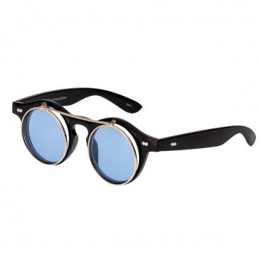 Ultra Black Frame Aqua Blue Lenses Flip Up Round Steampunk Sunglasses Classic Goggles Retro Mens Womens UV400 Cyber Gothic Circle Glasses