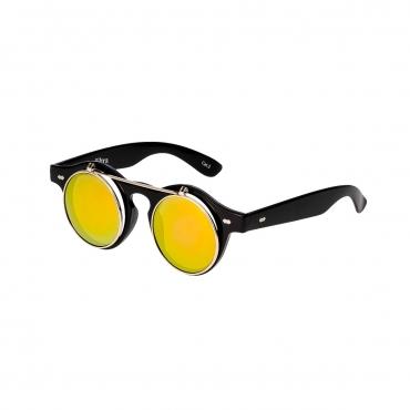 Ultra Black Frame Gold Lenses Flip Up Round Steampunk Sunglasses Classic Goggles Retro Mens Womens UV400 Cyber Gothic Circle Glasses