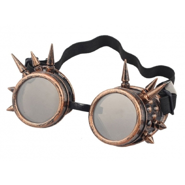 Ultra Bronze with Brown Lenses Rivet Steampunk Goggles Mens Womens Cyber Glasses Victorian Punk Welding Cosplay Goth Rustic Rivet Round Eyewear