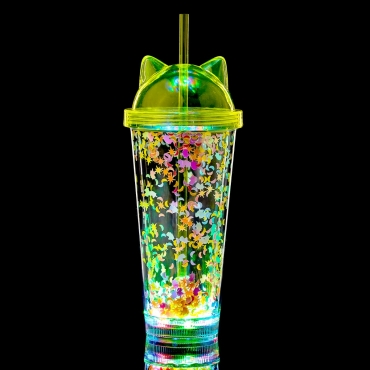 Ultra Cat Ear LED Flashing Plastic Drinking Glasses Light Bar Water Tumblers for Adults Children Beer Glass Cocktail Up Disco 400ml Tumbler