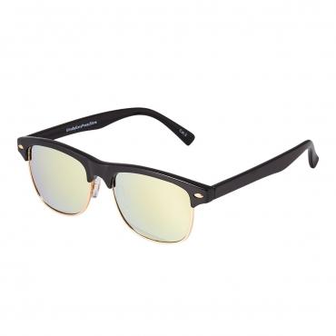 Black Frame Gold Lenses Childrens Round Half Frame Kids Sunglasses UV400 UVA Protection Retro Classic Boys Girls Glasses Half Rim Vintage Style Suitable for Ages 3 to 8 years