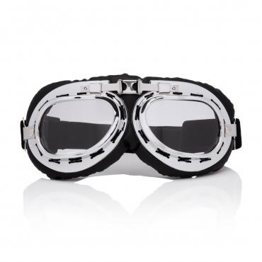 Ultra Silver & Clear Lenses Vintage Classic Motorcycle Helmet Mens Womens Steampunk Retro Cyber Pilot Flying Goggles WW2 Cosplay Eyewear Unisex