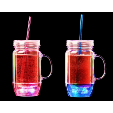 Ultra Blue and Pink LED Drinking Glasses Plastic Glasses Mason Jars with Lids and Straws Smoothie Cup Tumbler with Straw and Lid Slushie Cup Mason Jars with Handles Light Up Glasses Drinking…