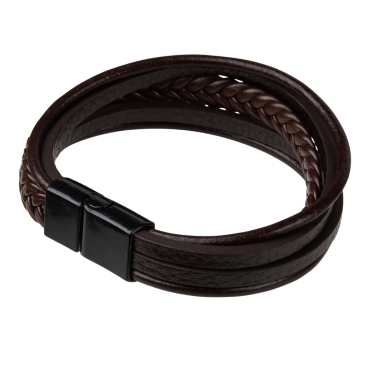 New Brown Dual Mens Leather Bracelet Magnetic Clasp Wristband Braided Bangle UK