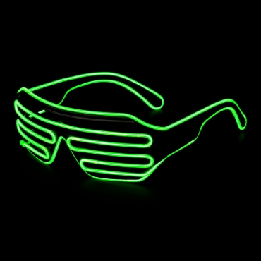 Green Adults EL Wire Glasses Light Up Neon Shutter Luminous Illuminated Party 3 Modes Glow Eyeglasses 3 Modes Concerts Clubs Bar Dj Raves Festivals