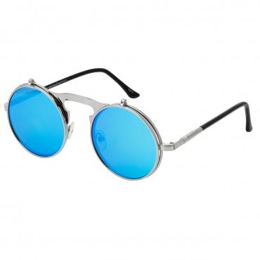 Ultra Silver Frame Ice Blue Lenses Round Flip-Up Steampunk Sunglasses UV400 UVA UVB Protection Mens Womens Retro Goggles Vintage Goth Glasses Unisex