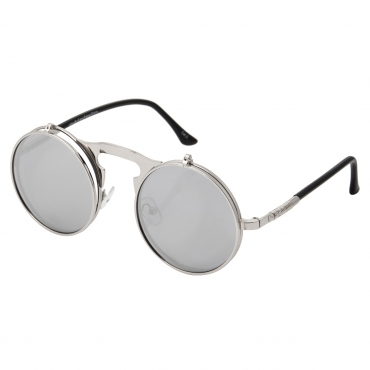 Ultra Silver Mirrored Round Flip-Up Steampunk Sunglasses UV400 UVA UVB Protection Mens Womens Retro Goggles Vintage Cyber Goth Glasses Unisex