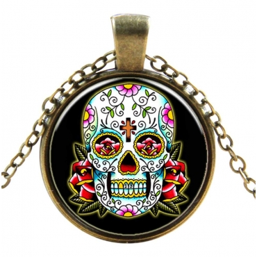 Floral Skull with Cross Style Steampunk Necklaces Classic Cyber Punk Victorian Mens Womens Jewellery Chain and Pendant Copper Vintage Cosplay