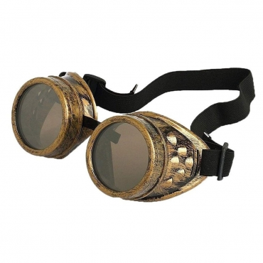 Ultra Gold with Brown Lenses Rivet Steampunk Goggles Mens Womens Cyber Glasses Victorian Punk Welding Cosplay Goth Rustic Rivet Round Eyewear
