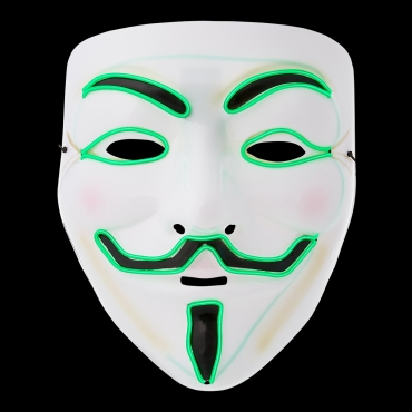 Ultra El Wire Guy Fawkes Mask Halloween Mask Hacker Mask Children Adult Anonymous Mask Guy Fawkes Masks LED Face Mask Cosplay Mask Light Up Mask Adults Kids Face Masks LED Mask-green