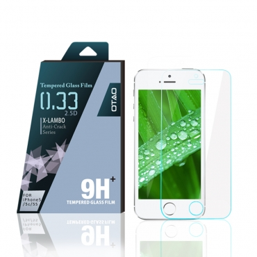 OTAO Apple Iphone 5 5c 5s SE Tempered Glass Screen Protector Curved edge 2.5D Premium Clear 0.3ml X Lambo highest level protection 9H Pro