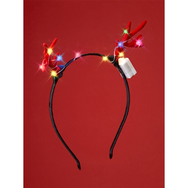 Christmas Antler Headband LED Deer XMAS Reindeer Antlers Headband For Women and Men Flashing Light Up Xmas Party Costume Prop for Adults Hairband