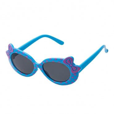 Ultra Blue Framed Girls Sunglasses Childrens Classic Cute Retro Bow Heart Glasses Kids Kitty Summer UV400 Protection Suitable for Ages 3 to 7 Years