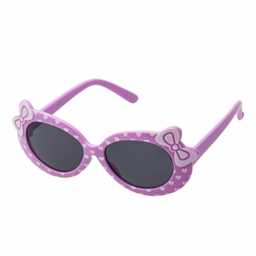Ultra Purple Framed Girls Sunglasses Childrens Classic Cute Retro Bow Heart Glasses Kids Kitty Summer UV400 Protection Recommended Age 3 to 7 Years