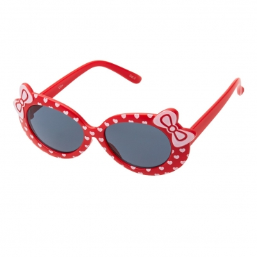 Ultra Red Framed Girls Sunglasses Childrens Classic Cute Retro Bow Heart Glasses Kids Kitty Summer UV400 Protection Suitable for Ages 3 to 7 Years