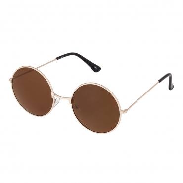 Ultra Gold Frame with Brown Lenses Adults Retro Round Large John Lennon Style Sunglasses Classic Men Women Vintage Retro UV400 Glasses Unisex