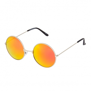 Ultra Gold Frame with Burnt Orange Mirrored Lenses Adults Retro Round Large John Lennon Style Sunglasses Classic Men Women Vintage Retro UV400 Glasses Unisex